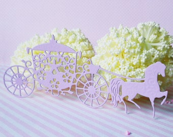 10 x light lilac horse and carriage paper die cuts  - princess wedding - paper embellishments for scrapbooking and card making