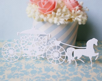 10 x white paper die cuts horse and carriage - princess wedding - paper embellishments for scrapbooking and card making