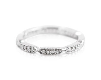 14kt White or Yellow Gold Diamond Eternity Band - Antique Ring - Stackable Ring - Wedding Band