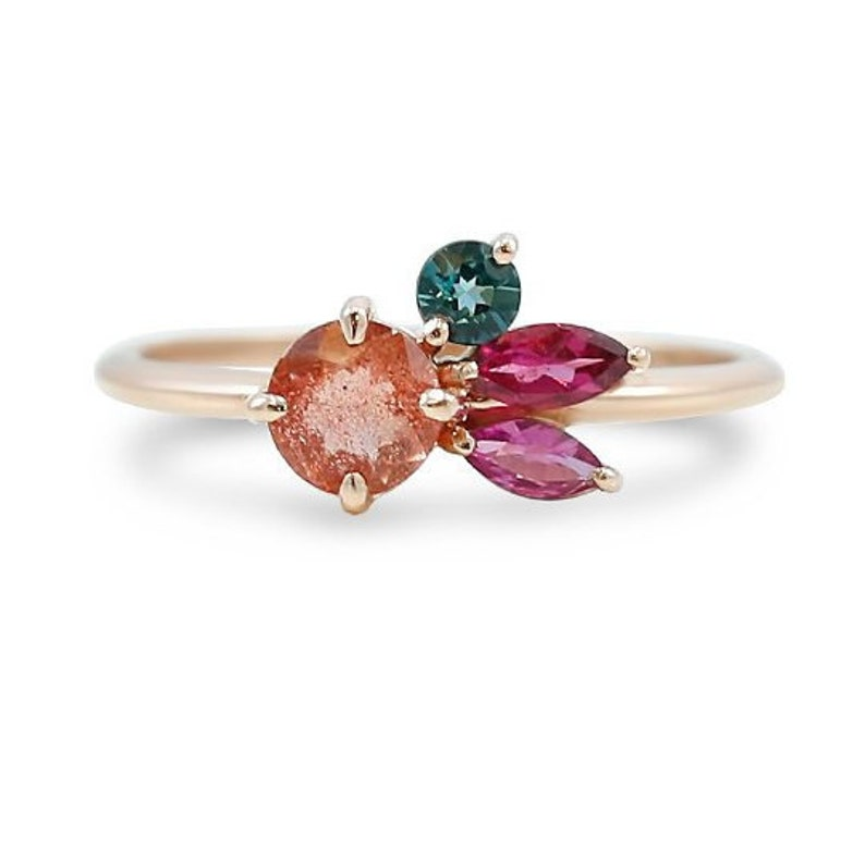 Oregon Sunstone and Pink & Blue Tourmaline Gemstone Cluster Ring | Rose  Gold Band | Size 7 in Stock | Colorful Stack Ring