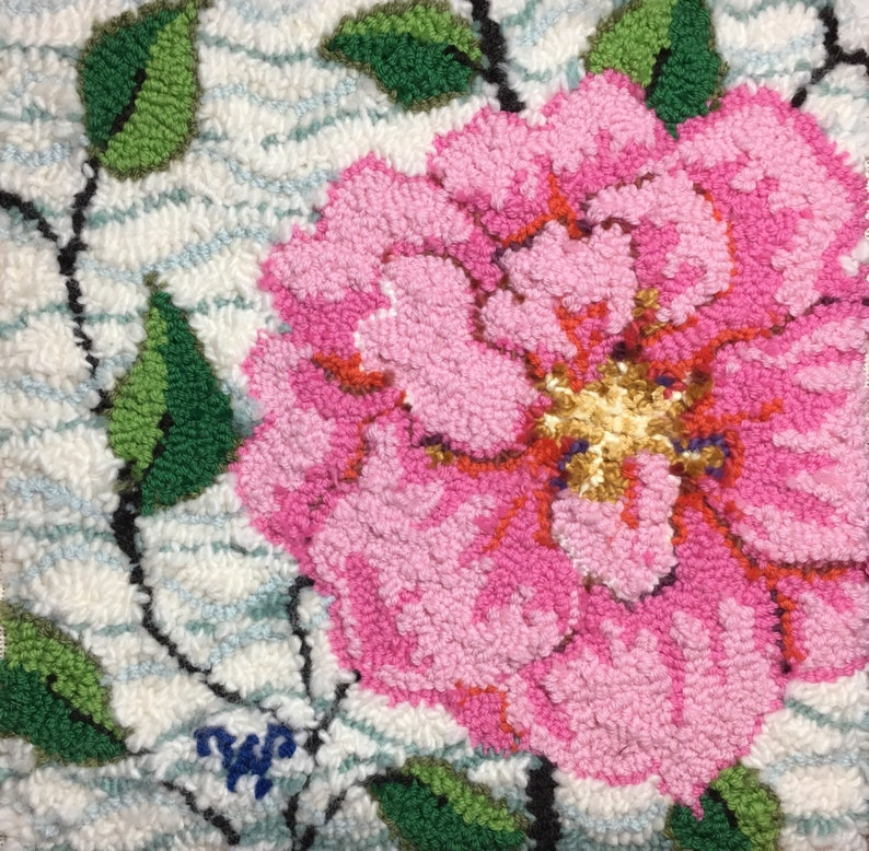14 x 14 Camellia rug hooking or Oxford rug punch PILLOW PATTERN