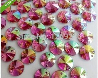 Pink AB colour Round10mm Rivoli Sew On Acrylic Crystal flatback Rhineston  300pcs lot m129 15d23658d9f6