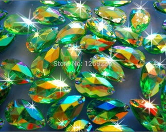 Promotion 150pcs 11 18mm drop shape Acrylic crystal Green AB Color Rhinestones  Stones Accessores Sew on Loose Beads Strass m47 40052c9ba3eb
