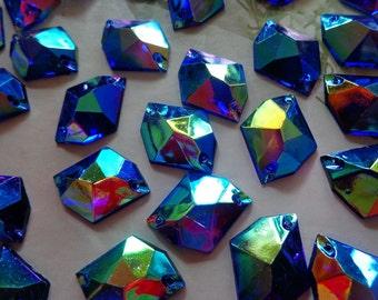 Sew on Rhinestone 21 16mm darkblue AB colour Acryl crystal cosmic shape  flatback strass Diamond Gem stone 100pcs lot b10af669c4eb