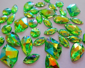 300pcs mixed shape size sew on rhinestones Green AB colour Acrylic Crystal  loose Beads hand sewing strass 449ab82e376c
