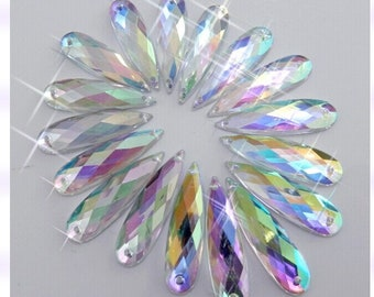 Big promotion 100pcs 9 36mm Clear AB Sew On Acrylic Crystal Rhinestone  Navette Shape Flatback m70 4f0f8b07b06e