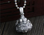 Pendant Necklace Floating Locket Openable Alchemy Furnace Inlaid Natural Stone 925 Sterling Silver Vintage Buddha Accessories