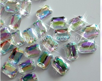 Accessory Gemstone 120pcs 10x14mm Clear AB Sew On Acrylic Crystal Rhinestone  Rectangular shape flatback strass Diamond stone 83 48dfe1a52adc