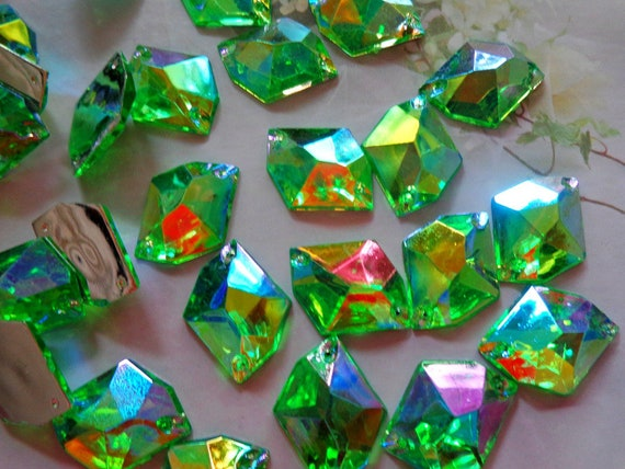 100pcs 2116mm Sew on Rhinestone Green AB colour Acryl crystal  4633d689c32f