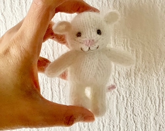 RTS. White mouse angora. 10cm. Special price!