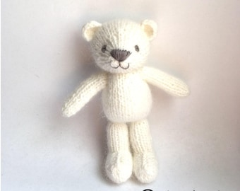Knitted white teddy bear for baby, newborn photo props, knit toy, handmade bear, gift for baby