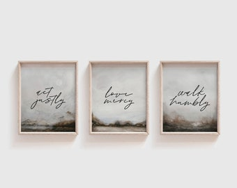 Micah 6:8   Act Justly   Love Mercy   Walk Humbly   Printable Set of 3 Wall Art   Scripture Set   Bible Verse Wall Decor   Instant Download