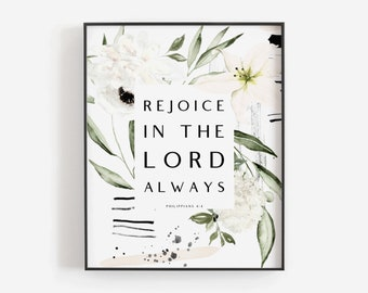 Inspirational Bible Verse Rain Rejoice in the Lord Roses Painting Soft Reds and Greys Original Art or Giclee Print