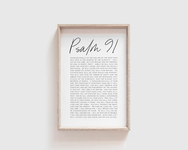 Psalm 91  Psalm 91 Wall Art  Instant Download  Digital image 0