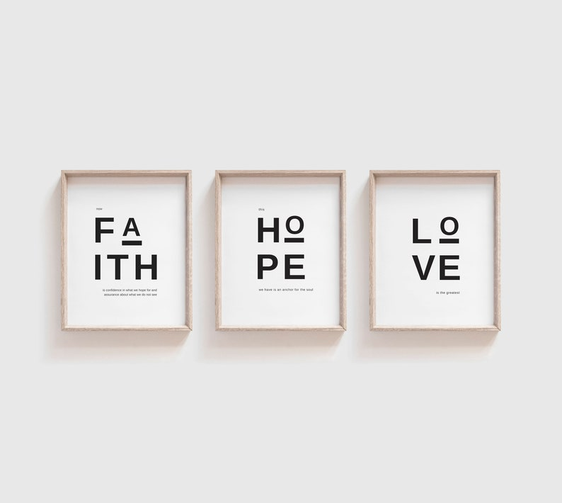 Faith Hope Love  Printable Set of Three  instant download  image 0