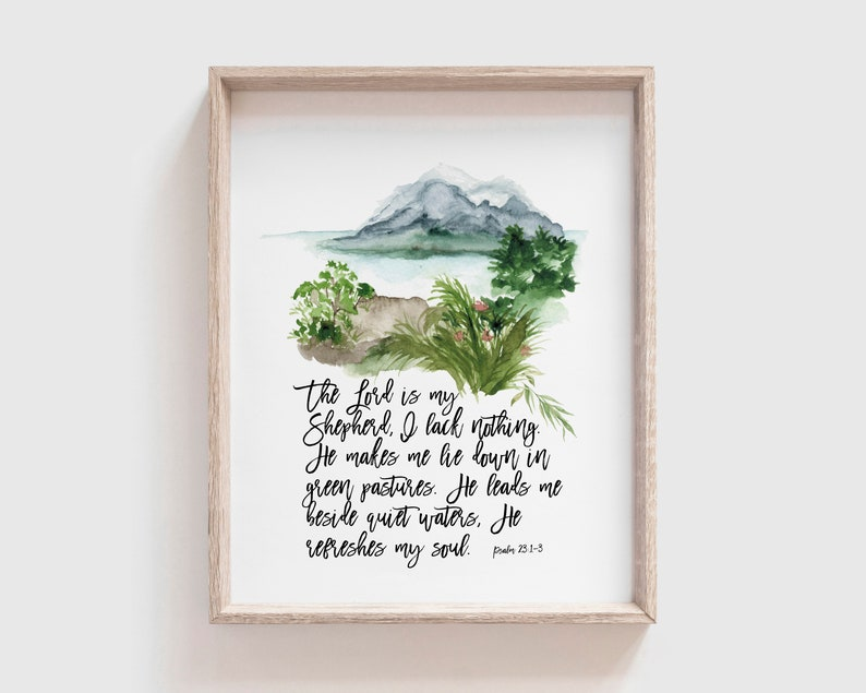 Psalm 23:1-3  The Lord is my shepherd  Printable  Christian image 0