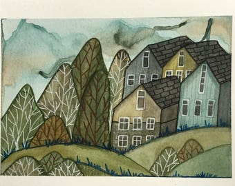 Watercolour original hand painted illustration - houses village landscape