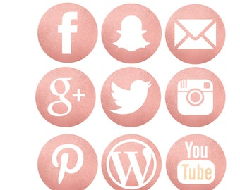 Glitter Pink Icons Etsy