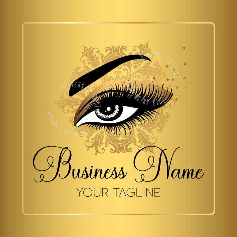 Custom logo, black gold lashes logo, eyelash logo, cosmetics logo, gold  black lashes logo, Lashes eye logo
