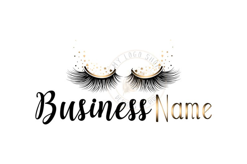 Custom logo, black gold lashes logo, eyelash logo, cosmetics logo, gold  black lashes logo, Lashes with sparkles eye logo