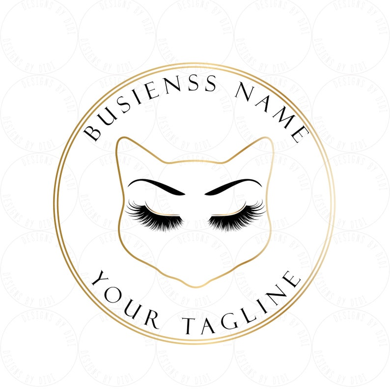 Custom logo, cat lashes logo, black gold lashes logo, eyelash logo cat ,  kitty logo lashes, gold black lashes logo, Lashes eye logo gold