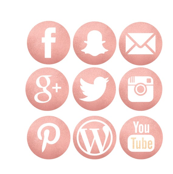 Glitter Rose Gold Social Media Icons Etsy