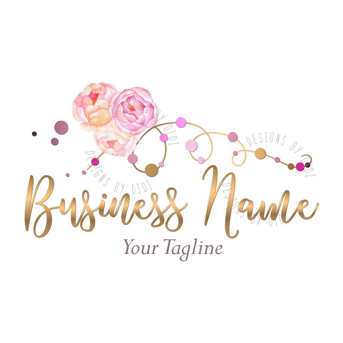 Beads Company Logo: Custom Logo Design Jewelry Flowers Logo Jewelry Beads Logo