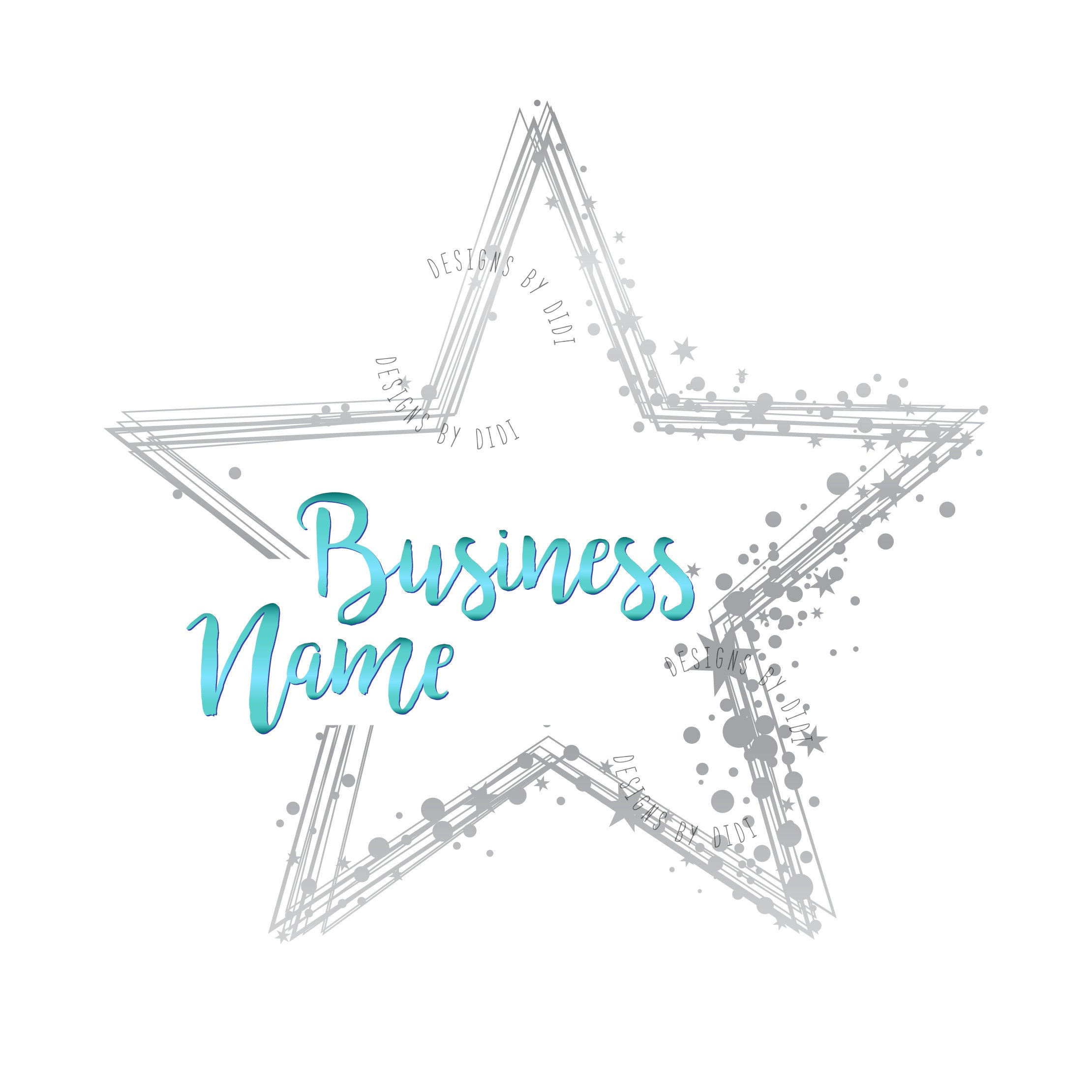 Custom logo design, silver glitter star logo, blue silver stars watermark  photography logo,stars sparkle logo design, stars dots logo silver