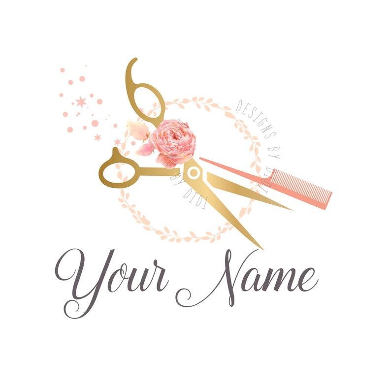 Custom Logo Design Scissors Comb With Flowers Logo Gold