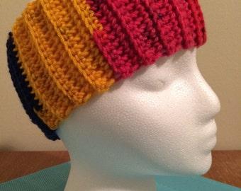 Crochet ear warmer, crochet headband - Rainbow Stripe