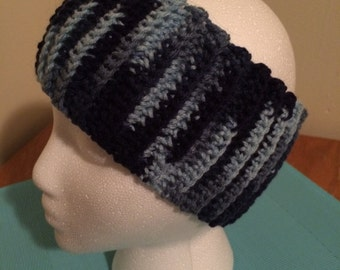 Crochet ear warmer, crochet headband - Shades of Blue