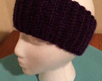 Crochet ear warmer, crochet headband - Dark Purple