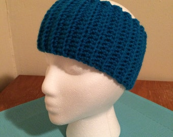 Crochet ear warmer, crochet headband - Bright Blue