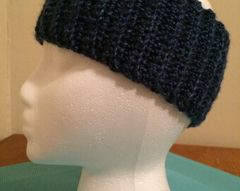 Crochet ear warmer, crochet headband - Dark Blue