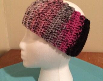 Crochet ear warmer, crochet headband - Pink/Gray Stripe