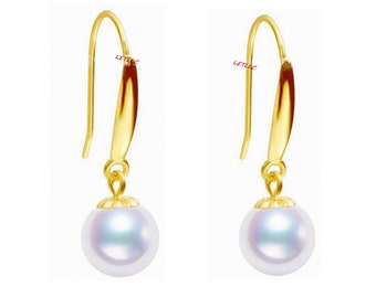 90207507f Lily Treacy Japanese Akoya Pearl 18K Solid Gold Dangle / Drop / Hook  Earrings 7.5-8mm or 8-8.5mm