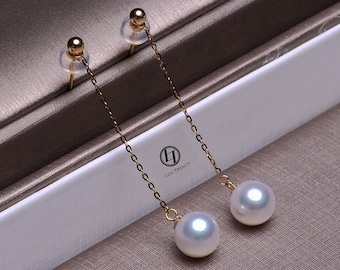 9394dc799 Lily Treacy Japanese Akoya pearl drop earrings solid gold ear studs pendant  combo bridal 7.5-8mm