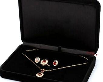 Jewelry Gift Presentation Box Bracelet Earrings Necklace Ring Velvet Holder Case