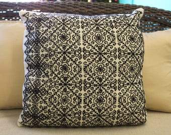 Mexican Embroidered  Wool Pillow Cover