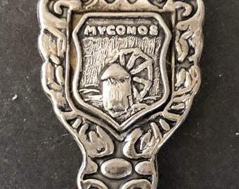 Greece with Windmill Myconos top on Silver Plated Souvenir Spoon pre-owned