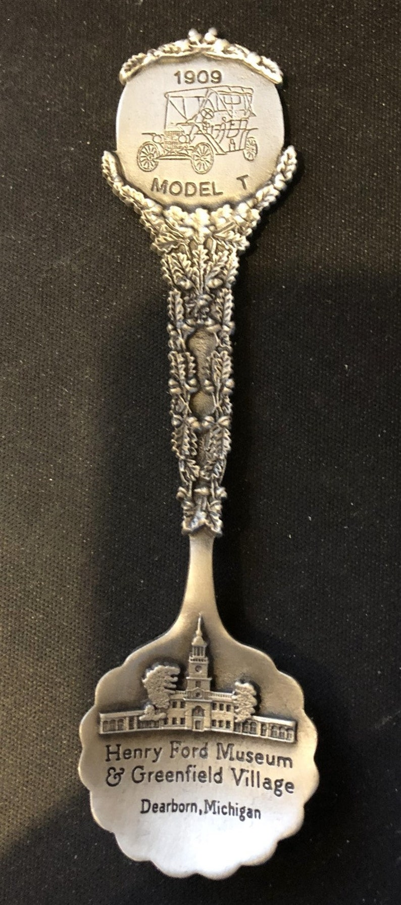 Dearborn on Pewter Souvenir Spoon \u2013 NEW bowl MI Henry Ford Museum top 1909 Model T