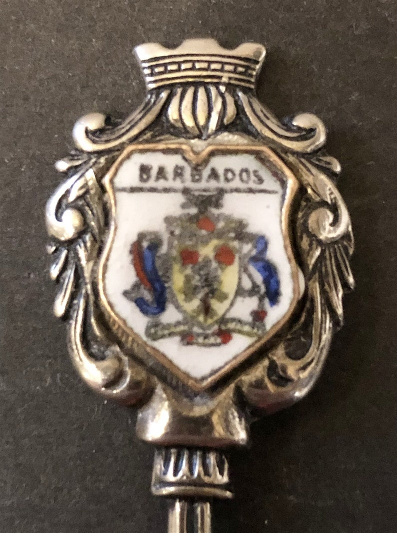 pre-owned Barbados with Crest on Silver Plated Souvenir Spoon top
