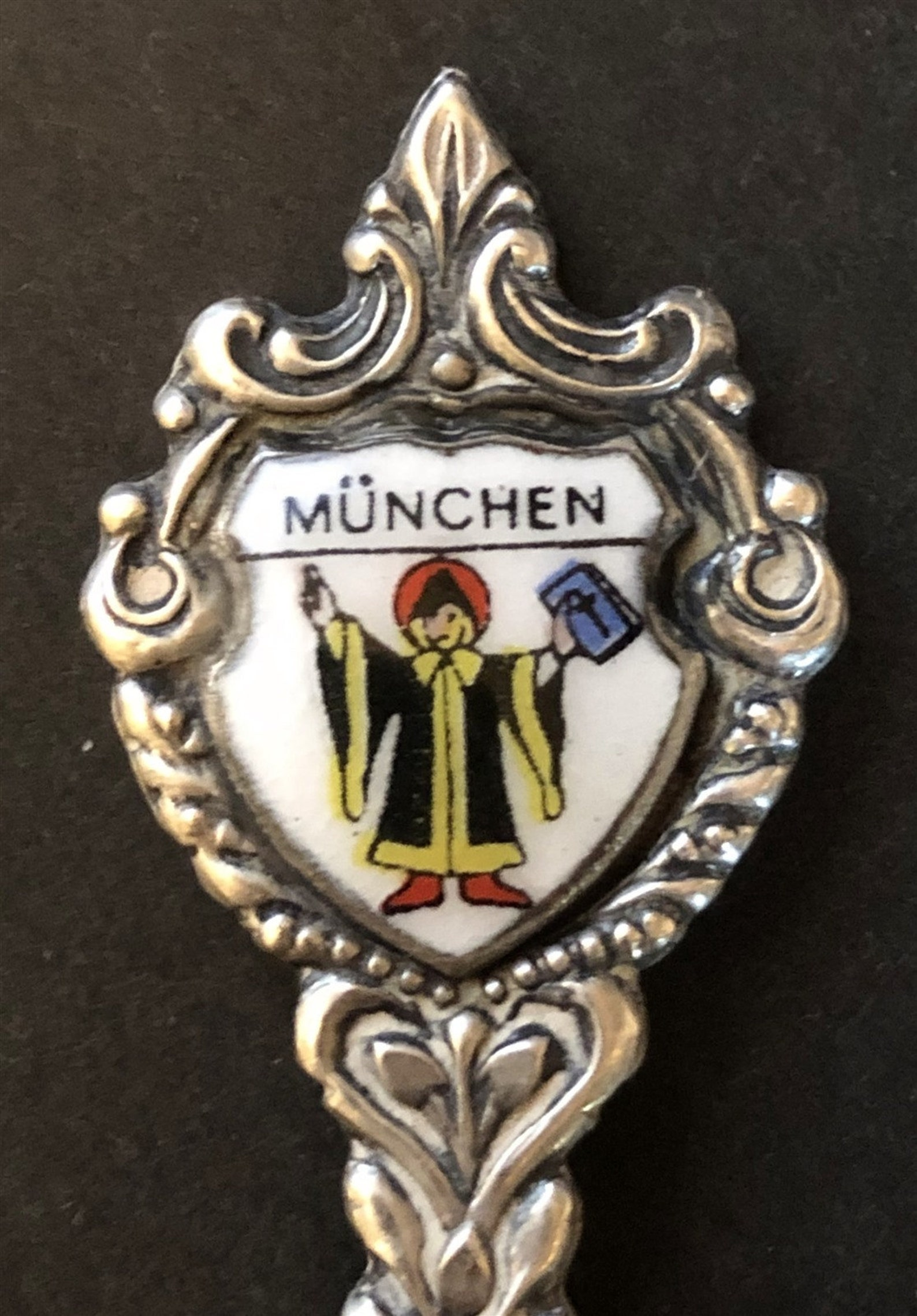 Munchen (Munich), Germany with Monk on Silver Plated Souvenir Spoon - pre-owned