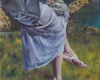 Contemplation Oil Painting (Print)