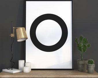 O Letter Print, Initial Wall Art, Scandinavian Art, Scandinavian Poster, Initial Poster O Letter Poster, O Letter Print, INSTANT DOWNLOAD