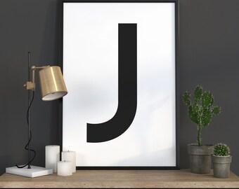 J Letter Print, Initial Wall Art, Scandinavian Art, Scandinavian Poster, Initial Poster J Letter Poster, J Letter Print, INSTANT DOWNLOAD