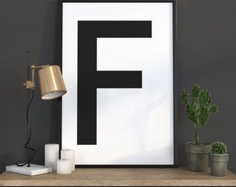 F Letter Print, Initial Wall Art, Scandinavian Art, Scandinavian Poster, Initial Poster F Letter Poster, F Letter Print, INSTANT DOWNLOAD