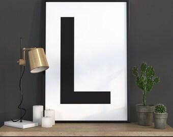 L Letter Print, Initial Wall Art, Scandinavian Art, Scandinavian Poster, Initial Poster L Letter Poster, L Letter Print, INSTANT DOWNLOAD