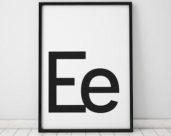 Ee Letter Print, Initial Wall Art, Scandinavian Art, Scandinavian Poster, Initial Poster Ee Letter Poster, Ee Letter Print, INSTANT DOWNLOAD