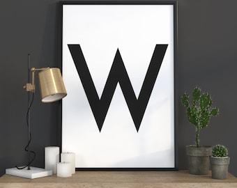 W Letter Print, Initial Wall Art, Scandinavian Art, Scandinavian Poster, Initial Poster W Letter Poster, W Letter Print, INSTANT DOWNLOAD